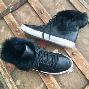 Rebecca Minkoff Sasha High Top Leathr Fur Sneakers